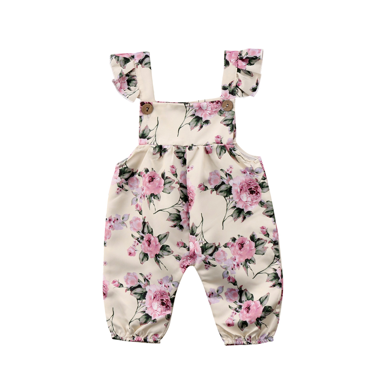 Pudcoco Newborn Infant Baby Girls Clothes Summer Strap Flower Romper Overall Jumpsuit Outfit Baby Girls Clothing 0-24M