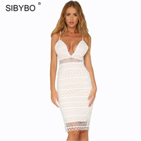 SIBYBO White Lace Summer Dress Women Hollow Out Deep V Neck Sexy Beach Dress Elegant Slim