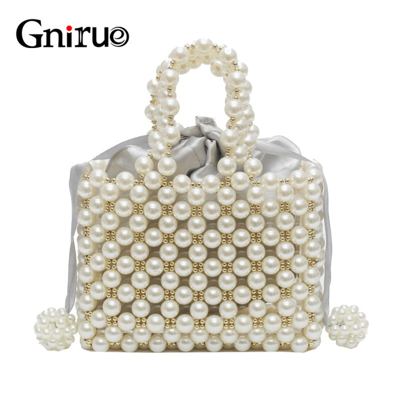New Fashion Pearl Acrylic Bags Vintage Hand Woven Clutches Beaded Evening Bags Party Prom Wedding Handbag Purses Shipping Free
