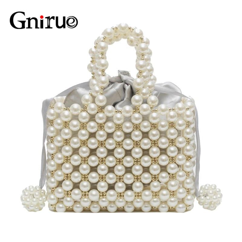 Nouvelle mode perle acrylique sacs Vintage tissé à la main embrayages perlés sacs de soirée fête de bal de mariage sac à main sacs à main livraison gratuite-in Sacs de soirée from Baggages et sacs    1