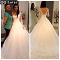 QQ Lover Vestido De Noiva Cheap Vestido De Festa Longo Sexy Sheer Full Sleeve Zipper Back Tulle Wedding Dress With Real Pictures