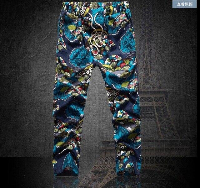 2017 летом Новый Жир цветочные брюки тонкий белье лодыжки длина брюки плюс размер повседневные брюки шаровары мужские певица одежда