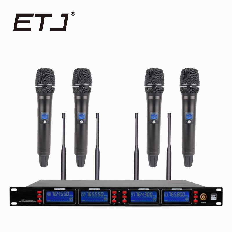 ETJ Brand UK1000 True Diversity Professional UHF Wireless Microphone 2 Transmitter 4 Receiver Stage Performance Microphone