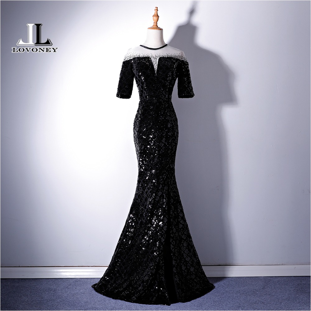 LOVONEY Half Sleeves Evening Dress Long Sequins Side Split Formal Dress Woman Occasion Party Dresses Evening Gown XYG819C
