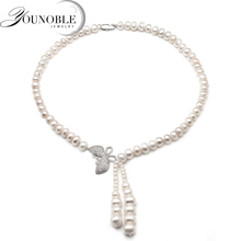 Genuine Freshwater Natural Pearl Necklace For Women,wedding White Choker Pendant Necklace Anniversary Gift