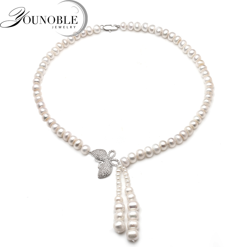 Genuine Freshwater pearl pendant necklace for women,wedding white choker necklace girls jewelry wife anniversary gift [nymph ]natural pearl necklace pearl jewelry white freshwater choker necklace trendy for wedding party fine jewelry x120