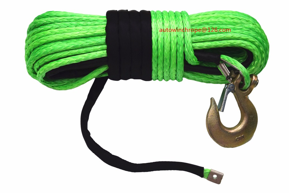 Green 12mm 45m Synthetic Winch Rope Tow Rope Car Recovery Replacement Winch Rope for Electric Winches