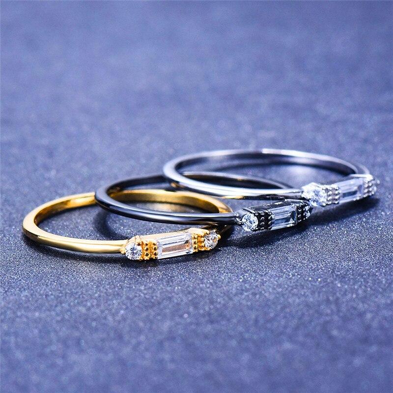 Feminino coreano Pequeno Anel De Pedra De Cristal Real de 100% 925 Sterling Silver Ring Finger Boho Amor Promessa Anéis de Noivado Para As Mulheres