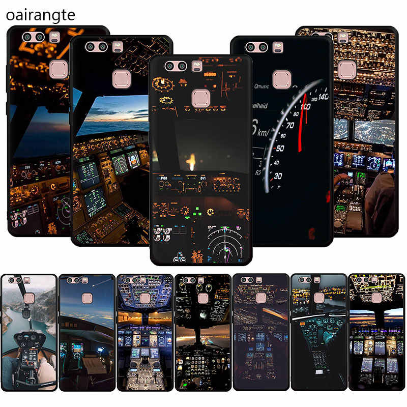cool aircraft airplane cockpit Soft Phone Cover Case For Huawei P8 9 Lite 2017 P10 P20 30 Lite Pro P smart 2019