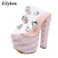 Eilyken 2019 New Sexy PVC crystal Platform Women Sandals Sexy Club Pumps Square heel 16CM Pink black Princess Sandals size 34 40