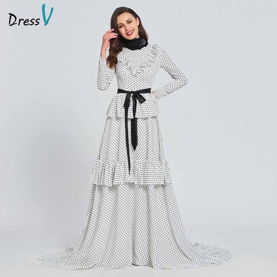 Dressv Party-Gown Long-Sleeves Elegant Ruffles Evening Floor-Length A-Line High Customize