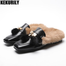 2103d09d7e63 Winter Rabbit fur Slippers shoes Women Fashion Furry Mules Slides Ladies  Low heels Shoes Pointed toe Sandalias mujer brown black-in Slippers from  Shoes on ...