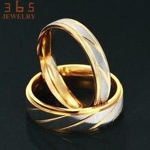 Novos Amantes de Jóias Em Aço Inoxidável Dele e Dela Promise Ring Linhas de Banda Amizade Amor Casal Anéis de ouro para As Mulheres Homens presente
