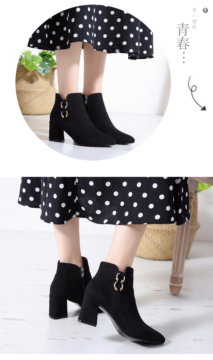 2019 Spring Autumn Women Boots New Fashion Casual Ladies Flock Short Boots Female Middle Heeled Boots M8D261 (10)
