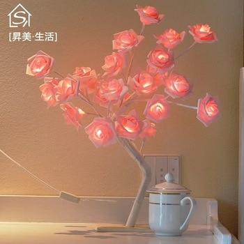 24 sztuk LED biały różowy kwiat róży lampki nocne sypialnia lampka nocna lampa biurkowa lampa dekoracji drzewo symulacji boże narodzenie Wedding Party