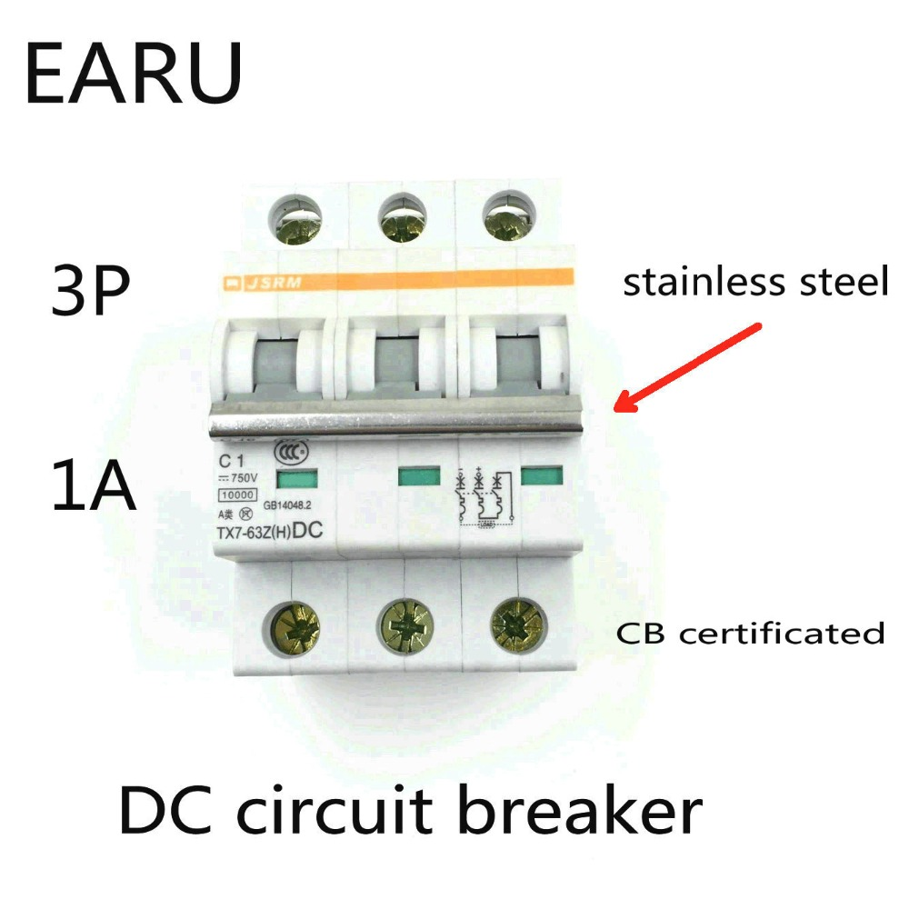 3P 1A DC 750V DC Circuit Breaker MCB for PV Solar Energy Photovoltaic System Battery C curve CB Certificated Din Rail Mounted3P 1A DC 750V DC Circuit Breaker MCB for PV Solar Energy Photovoltaic System Battery C curve CB Certificated Din Rail Mounted
