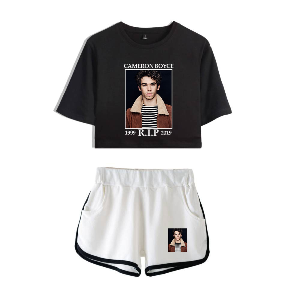Pop Actor Cameron Boyce Fashion Young Female Summer Two Piece Set Tight Midriff-Baring Cool Air Smooth Cotton Cameron Boyce Suit image