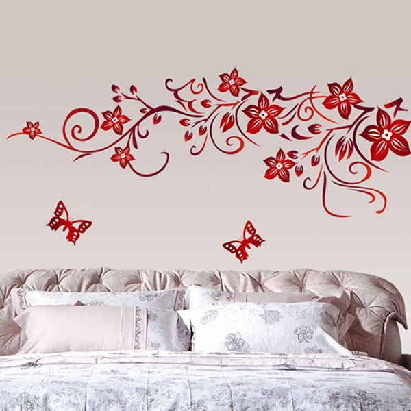 DIY Removable Plastic Black Plant Flower Wall Stickers Home Decor Living  Room Modern Art Home Decoration Floral Wall Decals  In Wall Stickers From  Home ... Part 34