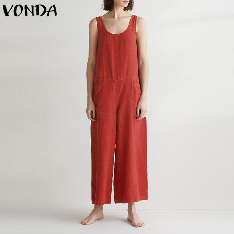 VONDA Rompers Womens   Jumpsuit   Wide Leg Pants 2018 Summer Casual Loose Sexy Sleeveless Cotton Overalls Plus Size M-5XL