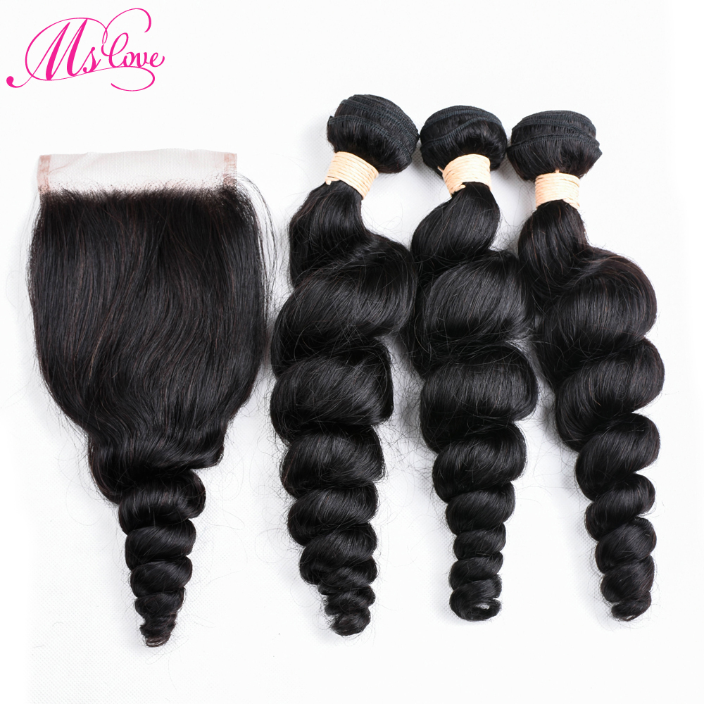 Mslove Loose Deep Wave Bundles With Closure 2/3 Malaysian Hair Bundles With Closure Non Remy Human Hair Bundles With Closure