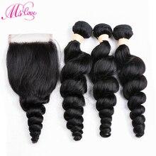 Mslove Loose Deep Wave Bundles с закрытием 2/3 малазийских связок для волос с закрытием неразрушающих человеческих волосяных связок с закрытием
