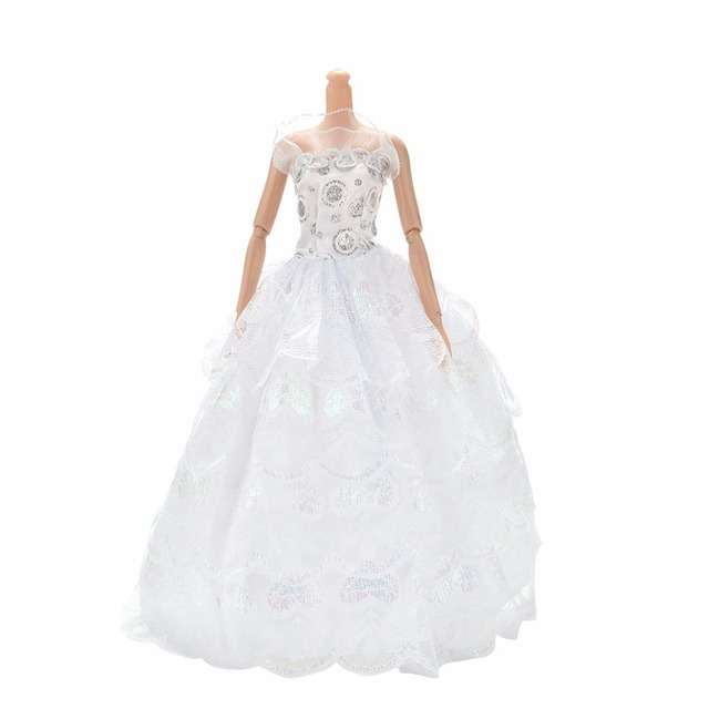 White Elegant Handmade Wedding princess Dress Doll Floral Doll Dress Clothes Clothing Multi Layers Dolls Accessories