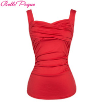 Belle Poque 2017 Summer Fitness Tank Top Sexy Red Black Vintage T Shirt Sleeveless Casual Camisole