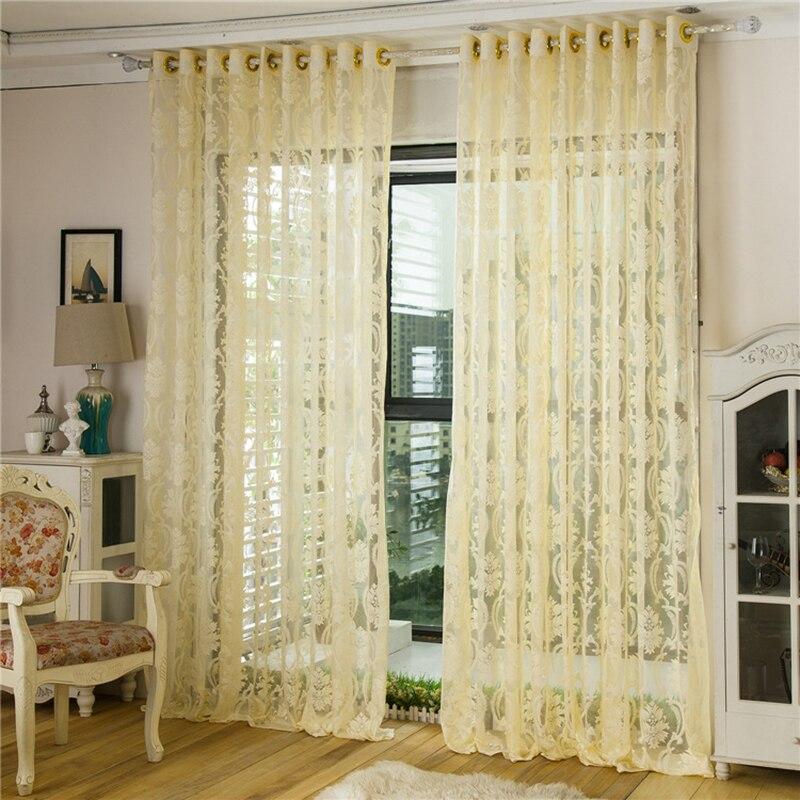 ᗗ1 pc salon salon rideau Transparent Floral décoration de la maison ...