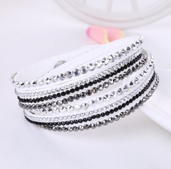Crystal Multi-Layer Wrap Bracelets Bracelets Jewelry New Arrivals Women Jewelry Metal Color: White and Black