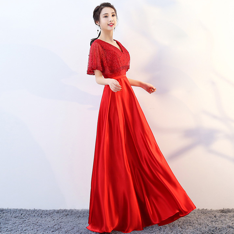 2019 New V neck Red Pearls Zipper Back With Jacket Party Formal   Dress   Short Sleeve Beads Sexy Long   Evening     Dresses