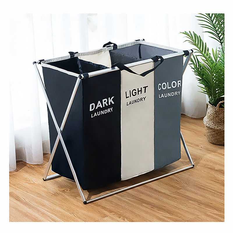 X-shape Foldable Dirty Laundry Basket Organizer Printed Collapsible Three Grid Home Laundry Hamper Sorter Laundry Basket