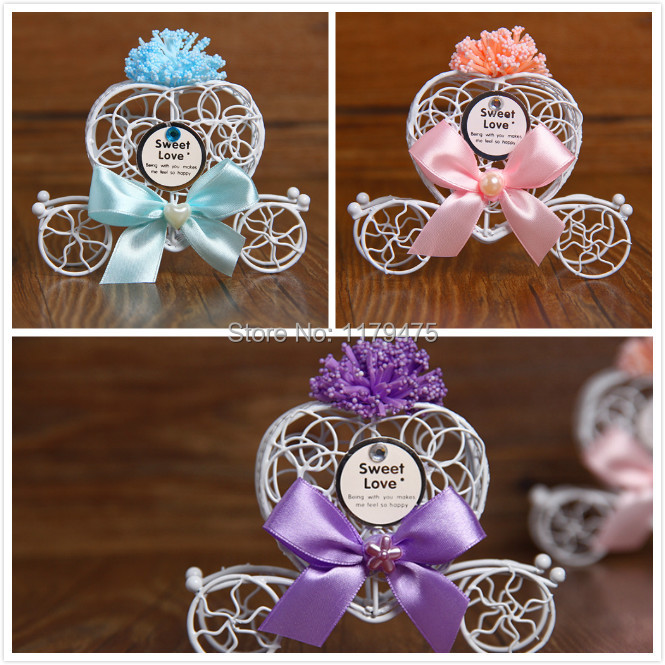 20 Pcs Free Shipping Wedding Favor Purple Light Blue Pink Lavender Tinplate Baby Carriage Wheelbarrow Shape Candy Box Gift In Bags Wrapping