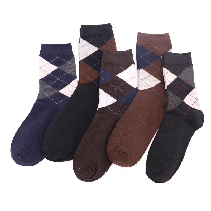 5Pair Mens Socks Chaussette Homme Meia Masculina Casual 3D Geometric Socks Art Dress Socks Funny For Male Band New Sokken