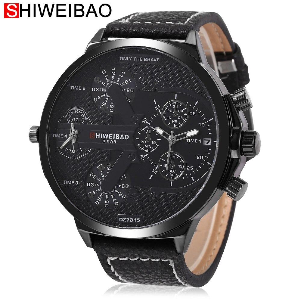relojes de pulsera de cuero de los hombres relojes de cuarzo de doble movt deporte quart