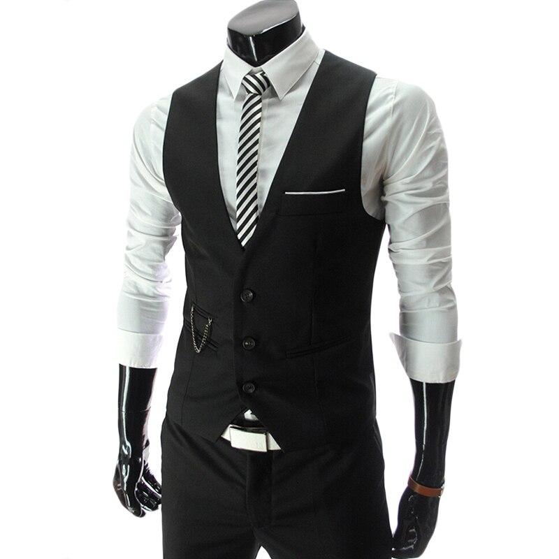 Chalecos De Vestir Para Hombre Negro Ajustado Fit Hombre Traje Chaleco Masculino Gilet Homme Colete