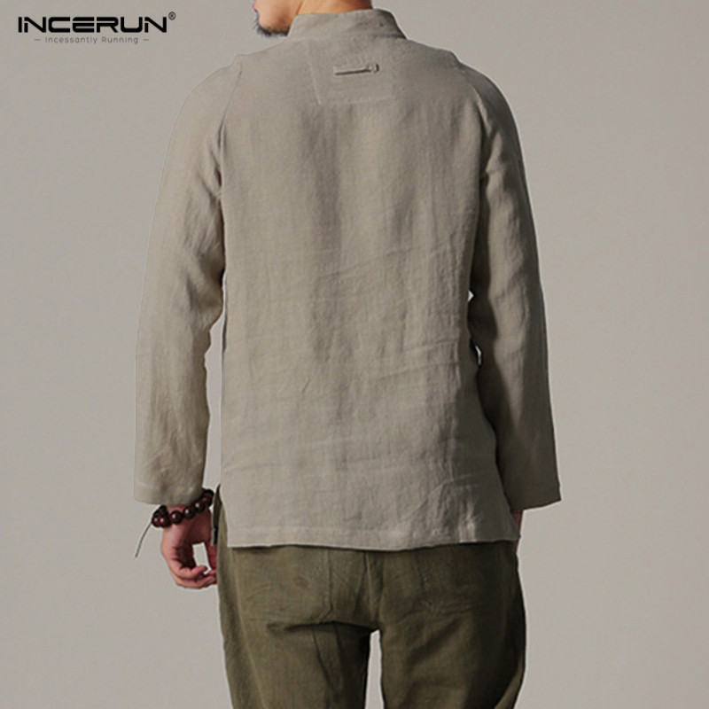 d0a42f481548 INCERUN Chinese Style Linen Shirt Men Collarless Camisa Masculin Flax Shirt  Mens Summer Casual Comfortable Chemise Homme Shirt-in Casual Shirts from  Men s ...