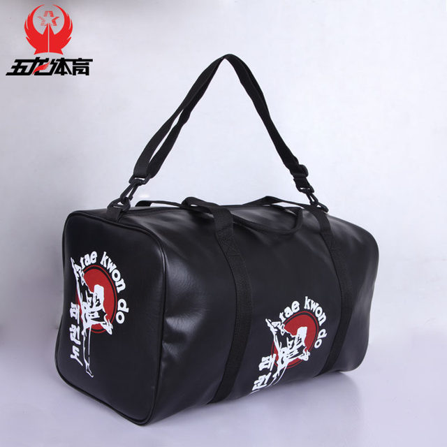 Free Shipping Leather Sports Gym Bag Taekwondo Kanpo Karate Bags Sanda Boxing Protector