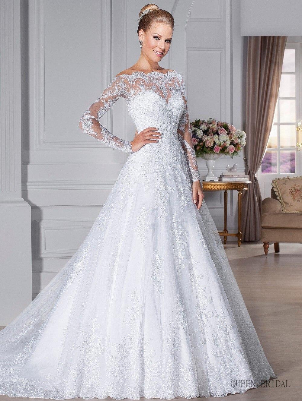 See through Long Sleeve Wedding Dresses