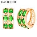 Brand Luxurious Hoop Earrings CZ jewelry Oval Green Earrings New Gold Plated Peridot Earrings Hoop Earrings for Women