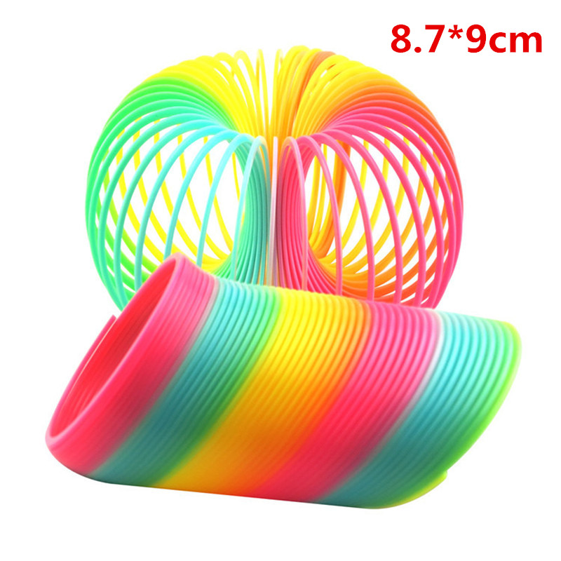 Novelty & Gag Toys Big Size 10cm Kids Magic Plastic Rainbow Spring Colorful Children Circle Coil Elastic Ring For Christmas Birthday Gifts