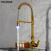 Kitchen Sink Faucet Brass Pull Out/Down Golden Sink Mixer Tap With LED Light Single Handle Hot & Cold Rotate Kitchen Crane Mixer kitchen sink faucet with plumbing hose all around rotate swivel 2 function water outlet mixer tap faucet 5051