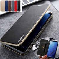 Per Samsung S8 S9 + S10 S10 + Note9 S10e s10 5G Nota 10 + Cuoio di Lusso della Carta Del Raccoglitore slot di Caso Sottile Della Copertura di Vibrazione Magnetica Cavalletto