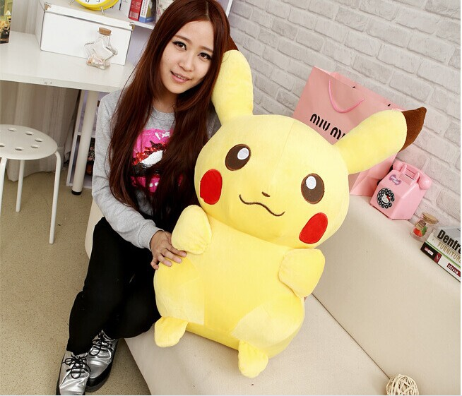 big high quality Pikachu toy lovely plush pikachu toy big yellow plush Pikachu doll gift about 85cm 0534 lovely middle plush monkey toy cute yellow coat monkey toy doll gift about 65cm 0127