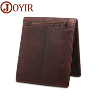 2017 Designer Vintage Crazy Horse Leather Men Wallet Genuine Leather Short Money Clip Casual Small Thin