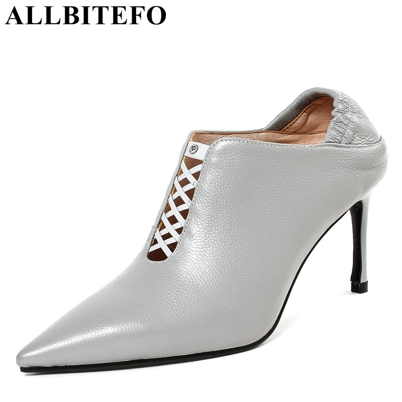 ALLBITEFO new spring genuine leather pointed toe high heel shoes sexy high heels women pumps office ladies shoes girls shoes new 2017 spring summer women shoes pointed toe high quality brand fashion womens flats ladies plus size 41 sweet flock t179