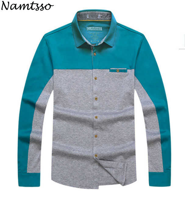 Spring/Autumn jack man's long sleeve Business casual male turn-down collar all Ice cotton Urban fashion contrast-collar shirts