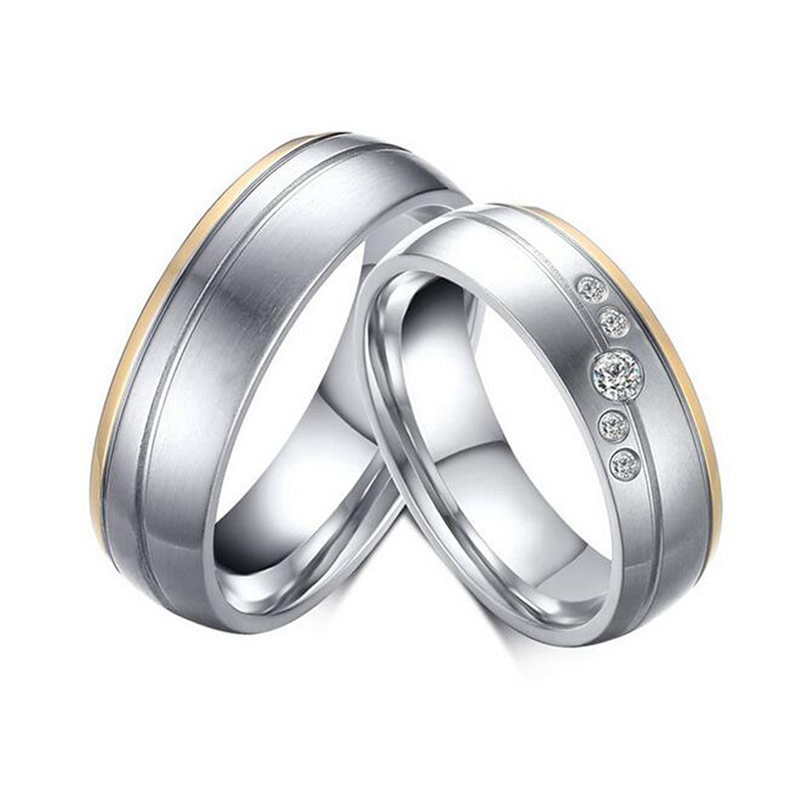 Silver Plated Alliance Ring Quality Stainless Steel Couple Ring for Women Men AAA+ Cubic Zirconia Wedding Band Ring