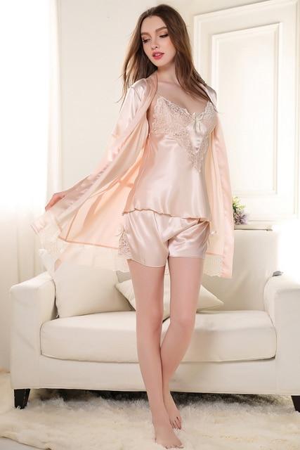 Сексуальная Женщин Пижамы Искусственного Шелка Халат Костюм Дамы 3 ШТ. Спагетти Ремень Халат + Топ + Шорты Кружево Сращивание Крытый одежда Пижамы