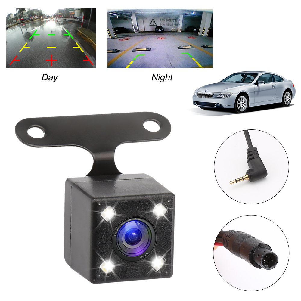 HD Car Rear View Camera Lens Night Vision 4 Led Lamps Reverse Camera 2.5mm Jack With 6 Miters Cable For Car Dvr Mirror Recorders