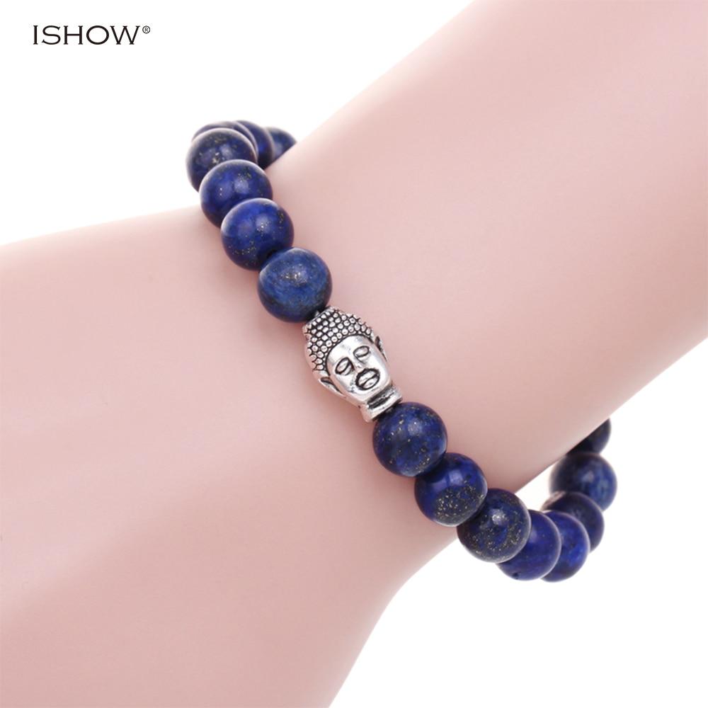 ツ)_/¯Natural stone lapis lazuli beads bracelets pulsera Buddha ...